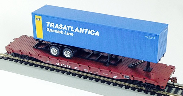 Conrail Flat with Traasatlantic Container on ChassisTrailer