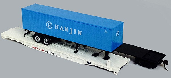 Soo Line Flat with Hanjin Container on ChassisTrailer