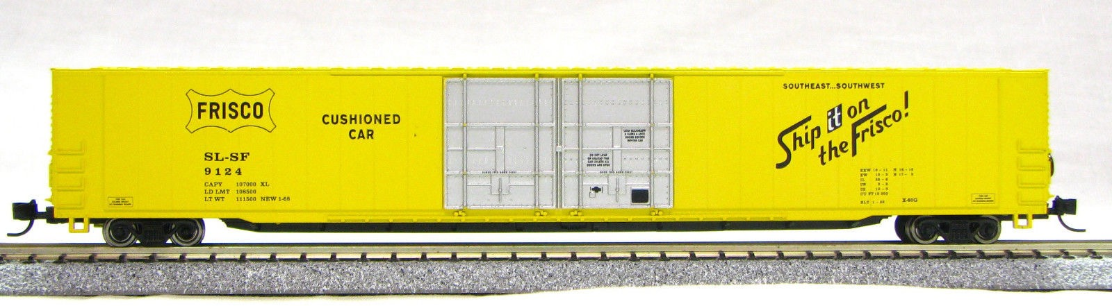 N Scale 4 Door 85 Ft Hi-Cube, Ship on Frisco (with MT couplers) 1-014664