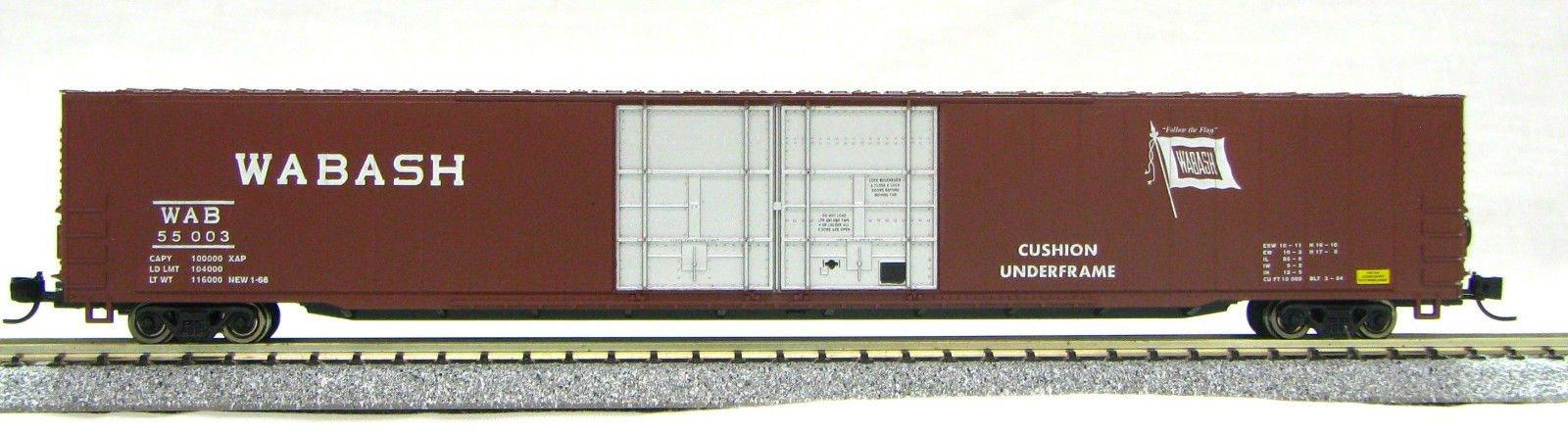 "N Scale 4 Door 85 Ft Hi-Cube, Wabash "" Flag "" (with MT couplers) 1-014668"
