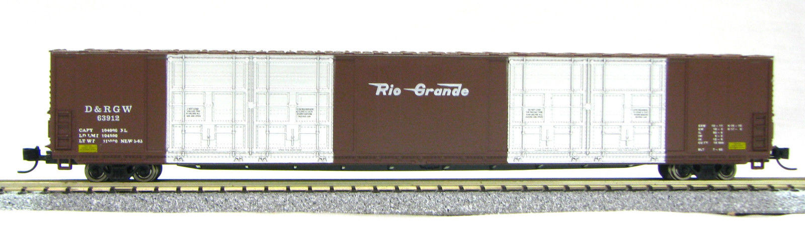 N Scale 8 Door 85 Ft Hi-Cube, Rio Grande (with MT couplers) 01-014633