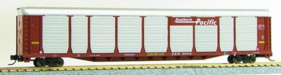 N Scale Tri-Level Auto Carrier, Flying Southern Pacific (MT couplers) 1-14697