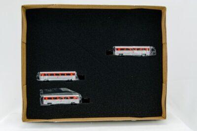 """N Aero Train 3-Coach Car """"Add-On"""" Set """"Pennsylvania"""" Pennsy AeroTrain 1956"""
