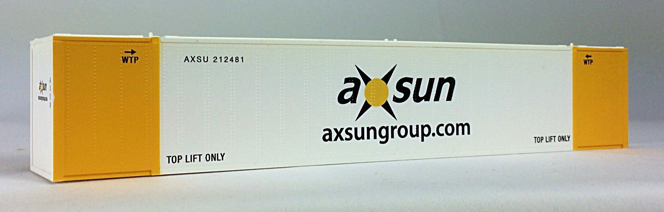 HO 53 Ft Std Container AXSUN  (white/yellow)2-PAK (01)