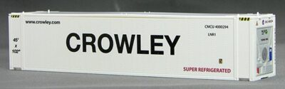 HO 45 Ft TK/Reefer Container  CROWLEY  (white) 2-pak (01)