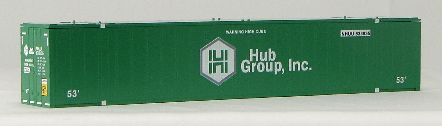 HO 53 Ft Std Container HUB GROUP (GREEN)  2-pak (02)
