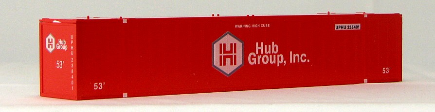 HO 53 Ft Std Container HUB GROUP (RED)  2-pak (01)
