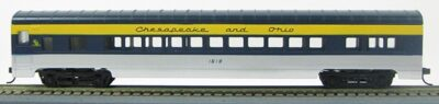 HO 72 Ft Passenger Car Coach #1618 Chesapeake and Ohio (silver/blue/yellow) (1-000919)