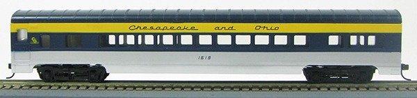 HO 72 Ft Passenger Car Coach #1618 Chesapeake and Ohio (silver/blue/yellow) (1-000919)