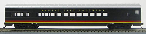 HO 72 Ft Passenger Car Coach #273 Kansas City Southern (Black w/stripes) (1-00900E)