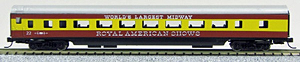 N Con-Cor Smooth Side Passenger Cars Royal American Shows ÒCircusÓ (Red & Yellow) (1-40023)