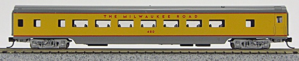 N Con-Cor Smooth Side Passenger Cars Milwaukee Road (Yellow/ matches Un Pacific colors) (1-40042)