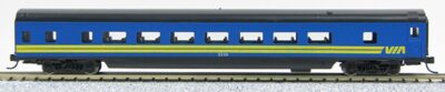 N Con-Cor Smooth Side Passenger Cars Via Rail (Blue & yellow) (1-40045)