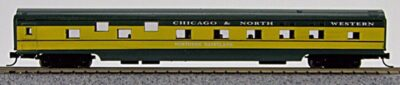 N Con-Cor Smooth Side Passenger Cars Chicago & Northwestern (Green & Yellow) (1-40038)