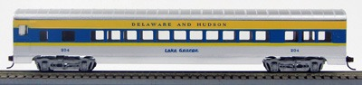 HO 72 Ft Passenger Car Coach #33 Delaware and Hudson (Silv/blue/yellow) (1-00900L)