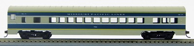 "HO 72 Ft Passenger Car Coach #1 Missouri Pacific ""Eagle"" (Gray/blue/silver) (1-00900R)"