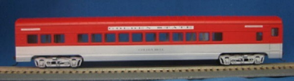 """HO 72 Ft Passenger Car Coach """"Golden Bell"""" Southern Pacific and Rock Island Golden State (Silver/red) (1-00900T)"""