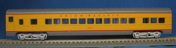 HO 72 Ft Passenger Car Coach #5417 Union Pacific (yellow/gray) (1-000901)