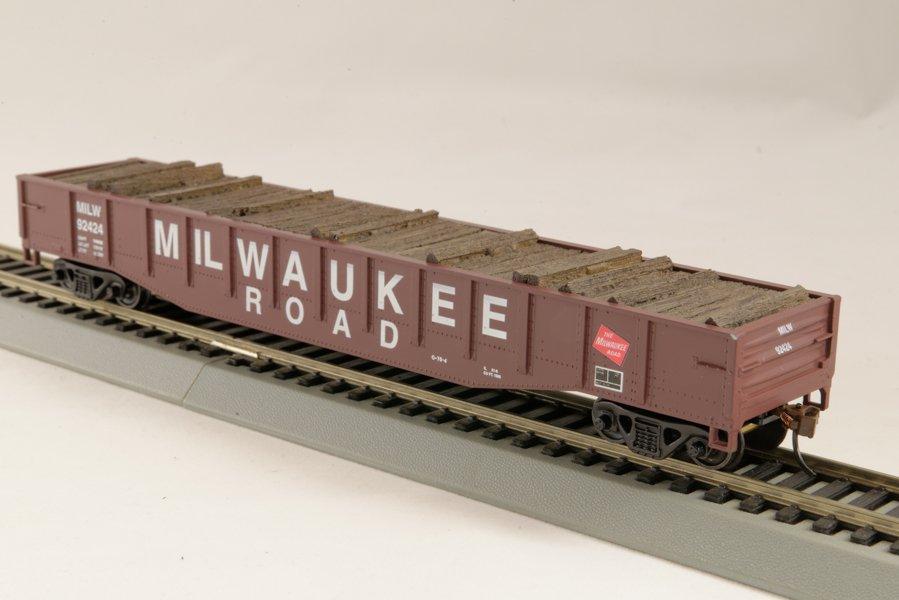HO Gondola /with Resin Tie Full load Milwaukee  Railway - Black. (01)