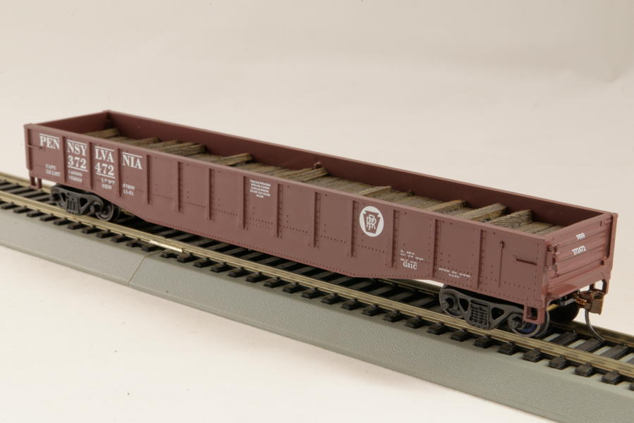 HO Gondola /with Resin Tie Half load Pennsylvania Railway - Boxcar red (02)