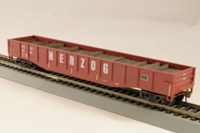 HO Gondola /with Resin Tie Half load Herzog Railway - Oxide (02)