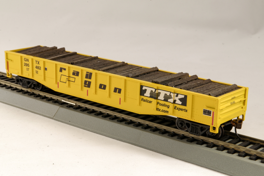 HO Gondola /with Resin Tie Full load RailGon TTX Railway - Yellow (01)