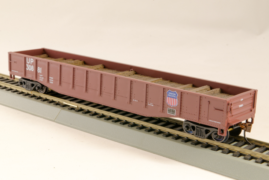HO Gondola /with Resin Tie Half load Union Pacific Railway - Boxcar Red (02)