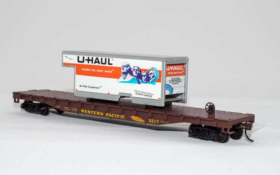 U-Haul So Dakota on Western Pacific Flatcar